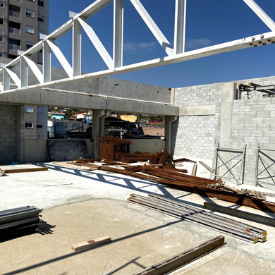 Foto da obra do novo prédio do Colégio EAG